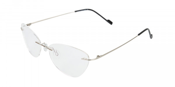 Rimless Cat-Eye Glasses in Silver Metal-3