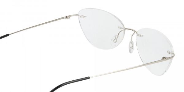 Rimless Cat-Eye Glasses in Silver Metal-5