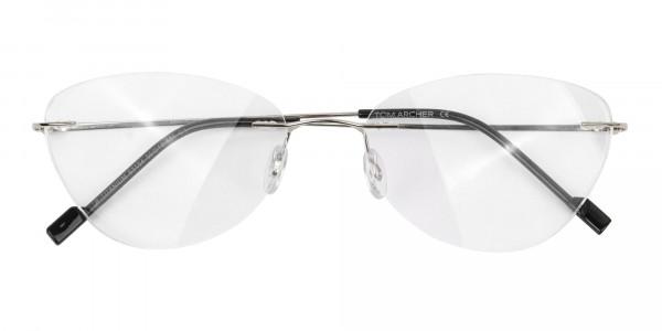 Rimless Cat-Eye Glasses in Silver Metal-6