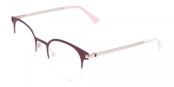 Woman 50's Retro Round Half-Rims Glasses UK-3