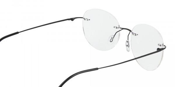 Black Rimless Round Glasses-5