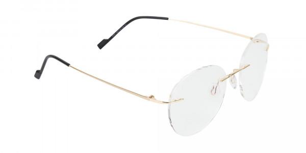 Round Rimless Glasses Gold - 2