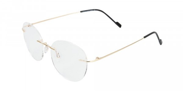 Gold Rimless Round Glasses-3