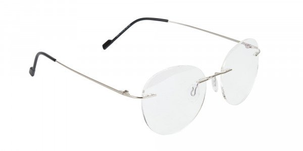 Silver Rimless Round Glasses in Metal-2