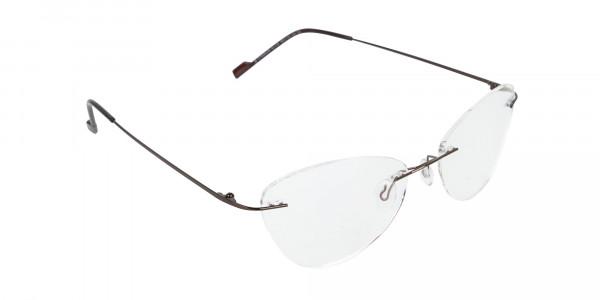 Rimless Cat-Eye Glasses in Brown Metal-2