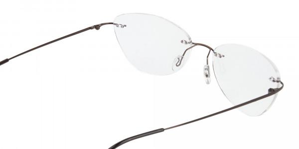 Rimless Cat-Eye Glasses in Brown Metal-5