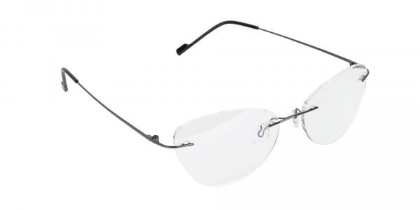 Gunmetal Rimless Cat-Eye Glasses -2