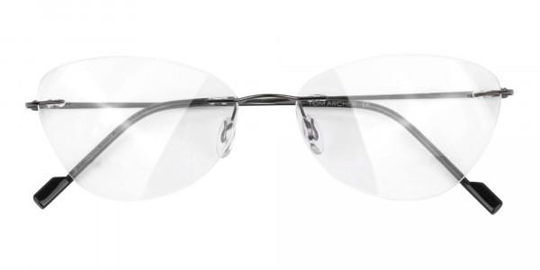 Gunmetal Rimless Cat-Eye Glasses -6