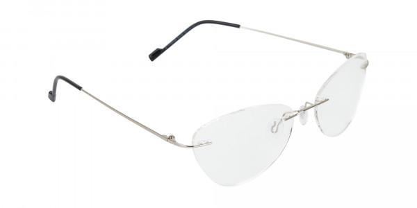 Rimless Cat-Eye Glasses in Silver Metal-2