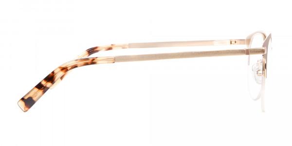 Nude & Tortoiseshell Round Half-rimmed Frame-4