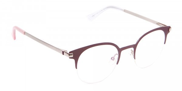 Woman 50's Retro Round Half-Rims Glasses UK-2