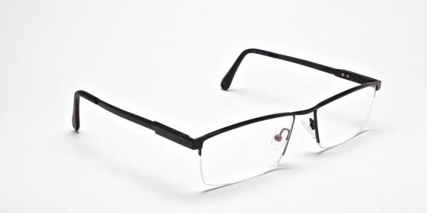 Black Rectangular Chic Half-Rim Frames -2