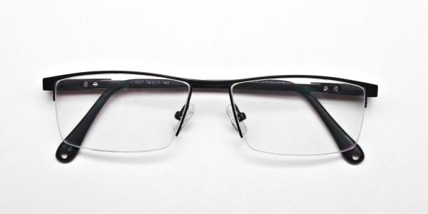 Black Rectangular Chic Half-Rim Frames -6