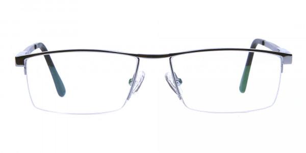 Smart Half-Rim Glasses Gunmetal & Silver  -1