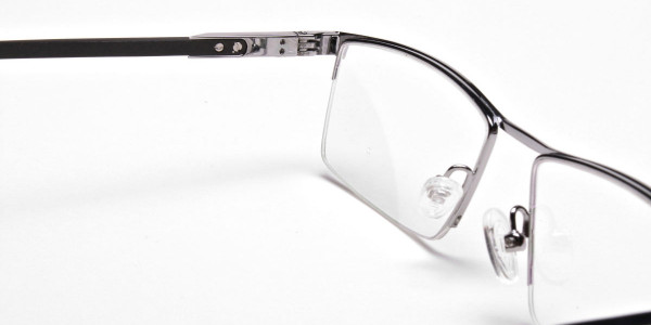 Smart Half-Rim Glasses Gunmetal & Silver  -5