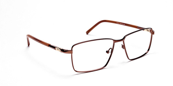Rectangular Styled Glasses in Brown -1
