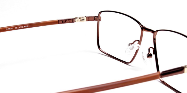 Rectangular Styled Glasses in Brown -4