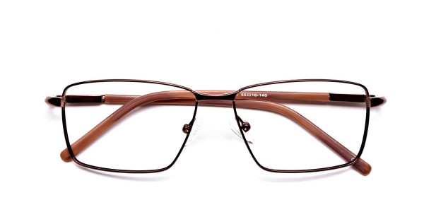 Rectangular Styled Glasses in Brown -5