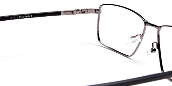 Rectangular Glasses in Gunmetal for Men & Women -5