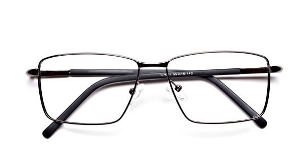 Rectangular Glasses in Gunmetal for Men & Women -6