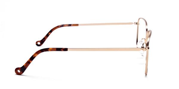 Gold Tortoiseshell Rectangular Glasses, Eyeglasses -4