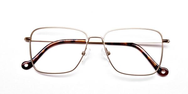 Gold Tortoiseshell Rectangular Glasses, Eyeglasses -6