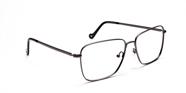 Gunmetal Square Glasses, Eyeglasses -2