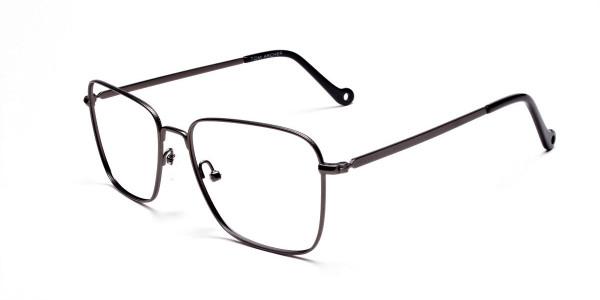Gunmetal Square Glasses, Eyeglasses -3