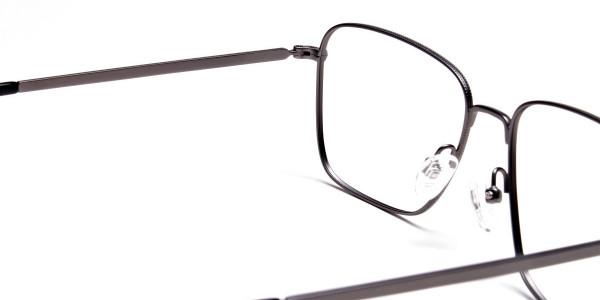 Gunmetal Square Glasses, Eyeglasses -5
