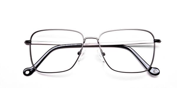 Gunmetal Square Glasses, Eyeglasses -6