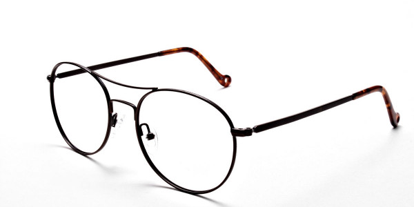 Brown Glasses in Round and Aviator , Eyeglasses -3