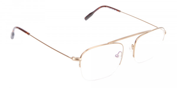 Gold Featured Metal Half-Rimmed Glasses-2