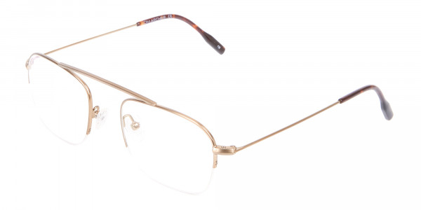 Gold Featured Metal Half-Rimmed Glasses-3