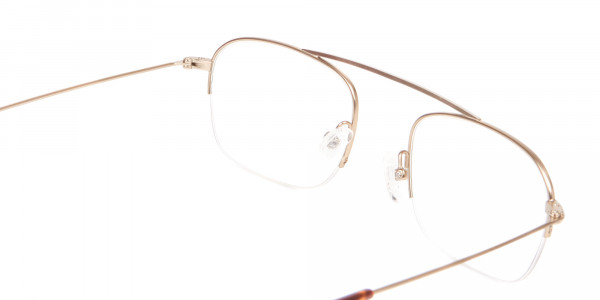 Gold Featured Metal Half-Rimmed Glasses-5