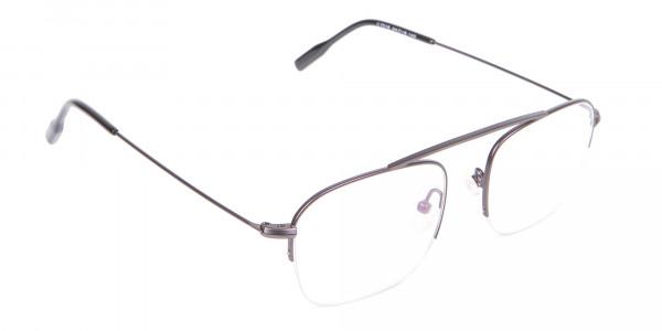 Gunmetal Browbar Half Rim Glasses Online UK-2