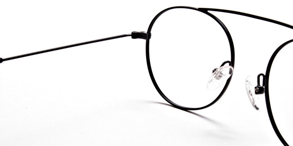 Glasses Without Nose Bridge in Black Metal - 5