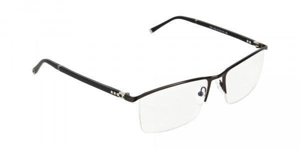 Black Semi-Rimless Glasses in Rectangular-2