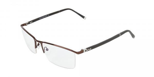 Brown and Black Semi-Rim Glasses-3