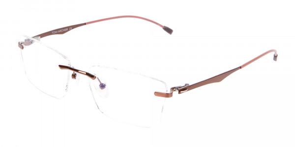 Brown Rimless Frame Free Coatings & Lenses-3
