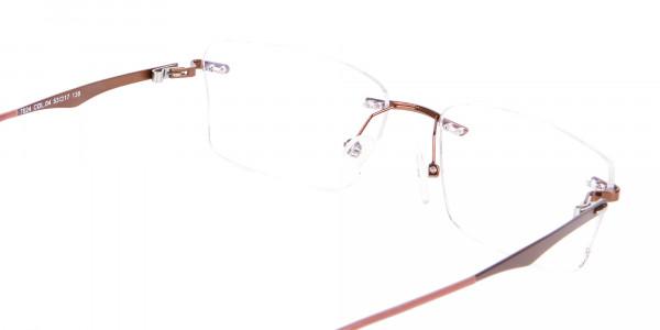 Brown Rimless Frame Free Coatings & Lenses-5