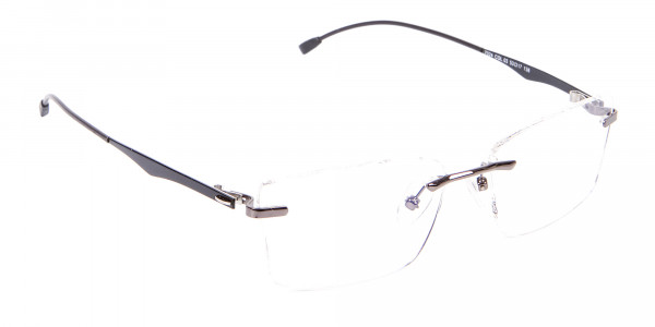 Gunmetal Rimless Rectangular Frame UK-2