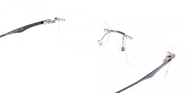 Gunmetal Rimless Rectangular Frame UK-5