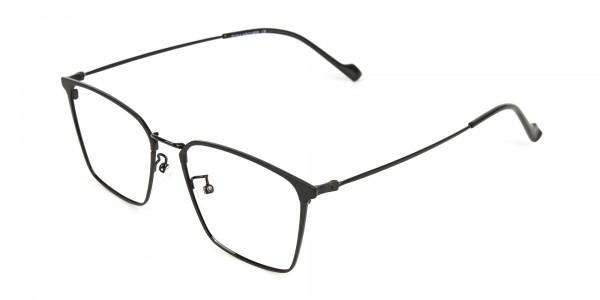 Black Wayfarer Glasses in Lightweight Metal -3