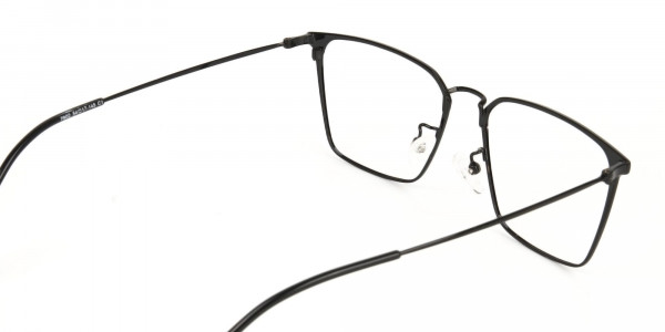 Black Wayfarer Glasses in Lightweight Metal -5