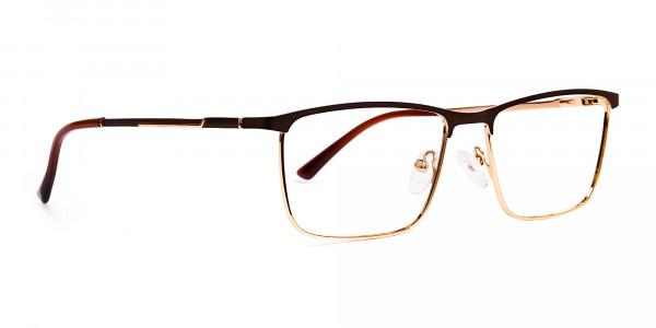 Brown & Gold Rectangular Full-Rim Glasses-2