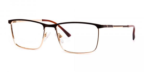 Brown & Gold Rectangular Full-Rim Glasses-3