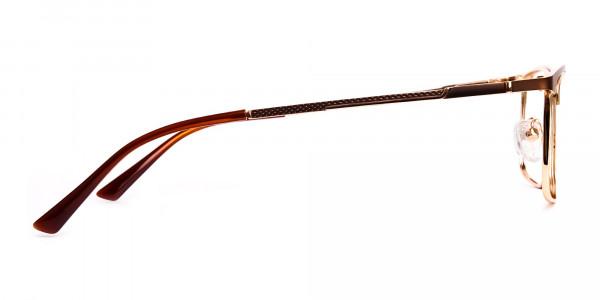 Brown & Gold Rectangular Full-Rim Glasses-4