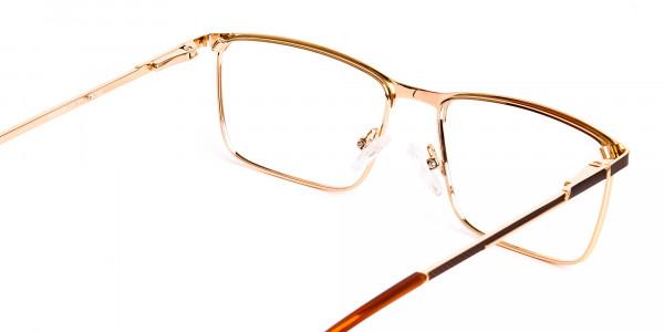 Brown & Gold Rectangular Full-Rim Glasses-5