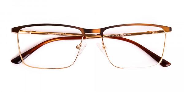 Brown & Gold Rectangular Full-Rim Glasses-6