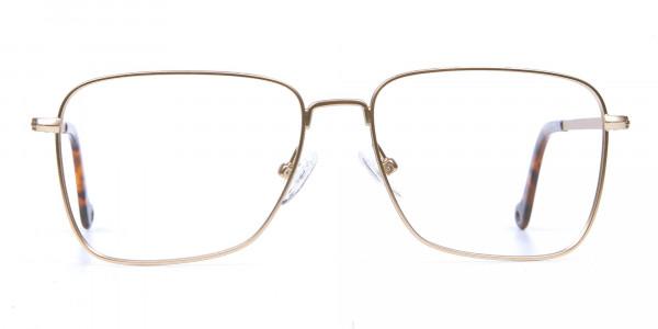 Gold Tortoiseshell Rectangular Glasses, Eyeglasses
